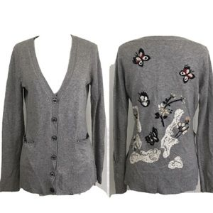 Anthropologie Embroidered Cardigan Cashmere Wool M